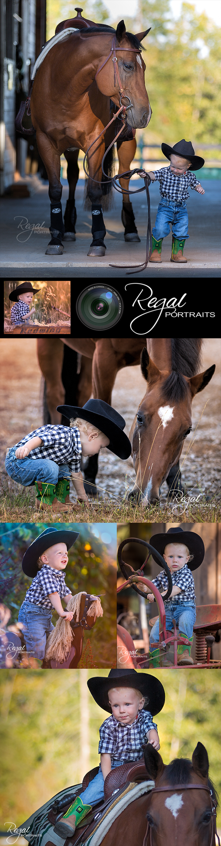 Super cute portrait of a little cowboy and his horse - Regal Portraits Photography in Victoria BC Canada